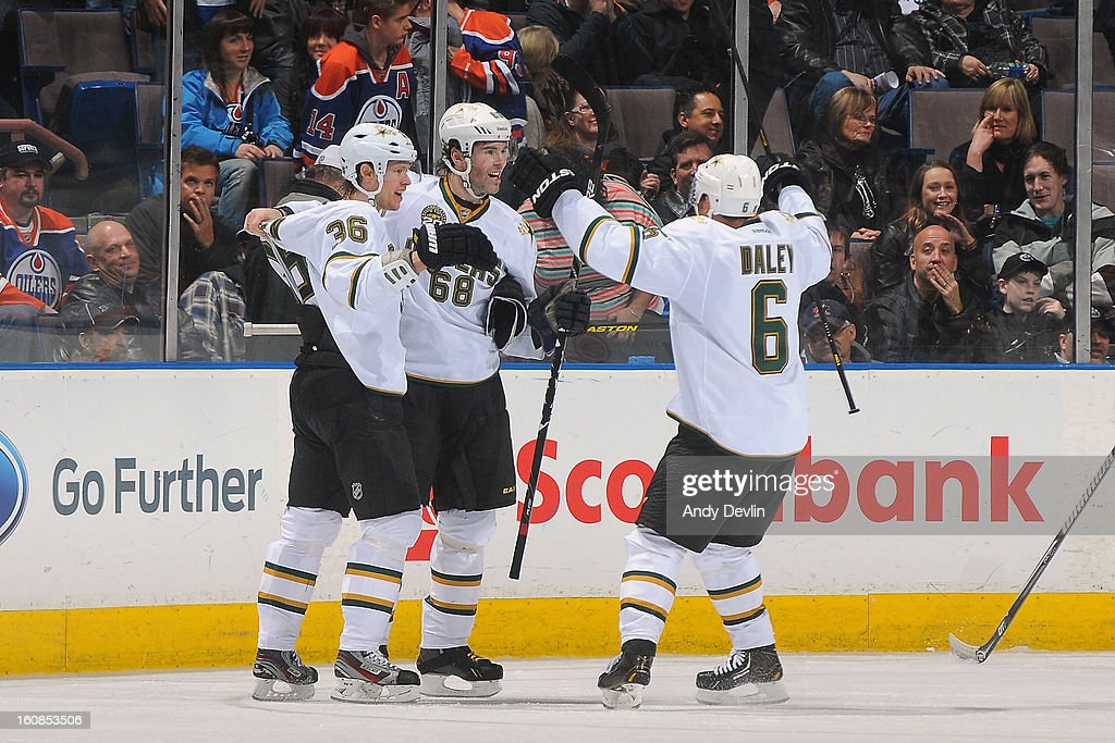 Jaromir Jagr #68, Philip Larsen #36 and <a gi-track='captionPersonalityLinkClicked' href=/galleries/search?phrase=Trevor+Daley&family=editorial&specificpeople=213975 ng-click='$event.stopPropagation()'>Trevor Daley</a> #6 of the Dallas Stars celebrate after winning the game in overtime against the Edmonton Oilers on February 6, 2013 at Rexall Place in Edmonton, Alberta, Canada.