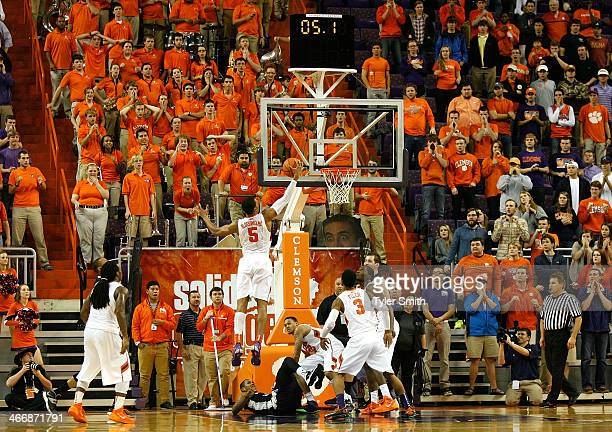 Jaron Blossomgame of the Clemson Tigers makes the final rebound to secure the win during the game against the Georgia Tech Yellow Jackets at...