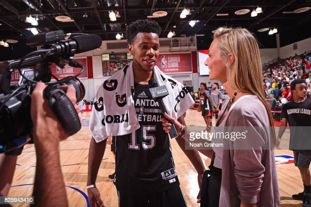 Jaron Blossomgame of the San Antonio Spurs is interviewed after the 2017 Las Vegas Summer League game against the Portland Trail Blazers on July 11...