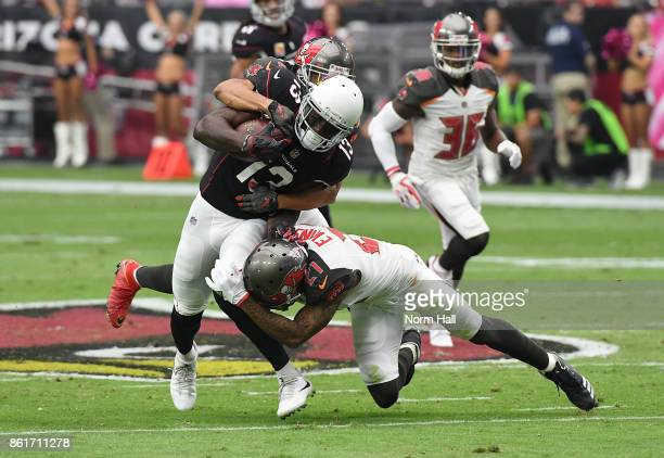 Jaron Brown of the Arizona Cardinals catches a pass from Carson Palmer while while being hit by Justin Evans of the Tampa Bay Buccaneers during the...