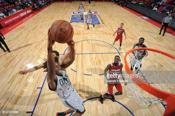 Jaron Johnson of the LA Clippers goes up for a dunk against the Miami Heat on July 13 2017 at the Thomas Mack Center in Las Vegas Nevada NOTE TO USER...