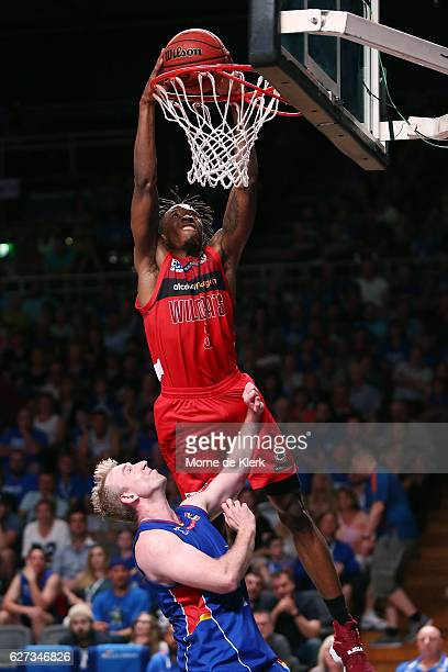 Jaron Johnson of the Perth Wildcats dunks the ball during the round nine NBL match between the Adelaide 36ers and the Perth Wildcats at Adelaide...