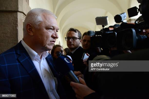 Jaroslav Faltynek vice chairman of the ANO movement answers journalists' questions at the parliament during talks with political parties on October...