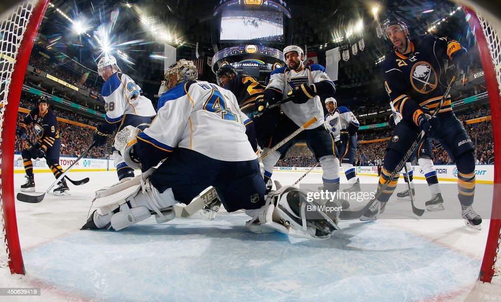 <a gi-track='captionPersonalityLinkClicked' href=/galleries/search?phrase=Jaroslav+Halak&family=editorial&specificpeople=2285591 ng-click='$event.stopPropagation()'>Jaroslav Halak</a> #41, Ian Cole #28 and Roman Polak #46 of the St. Louis Blues defend the net against <a gi-track='captionPersonalityLinkClicked' href=/galleries/search?phrase=Steve+Ott&family=editorial&specificpeople=210616 ng-click='$event.stopPropagation()'>Steve Ott</a> #9, <a gi-track='captionPersonalityLinkClicked' href=/galleries/search?phrase=Ville+Leino&family=editorial&specificpeople=4025199 ng-click='$event.stopPropagation()'>Ville Leino</a> #23 and <a gi-track='captionPersonalityLinkClicked' href=/galleries/search?phrase=Drew+Stafford&family=editorial&specificpeople=220617 ng-click='$event.stopPropagation()'>Drew Stafford</a> #21 of the Buffalo Sabres on November 19, 2013 at the First Niagara Center in Buffalo, New York. St. Louis won, 4-1.