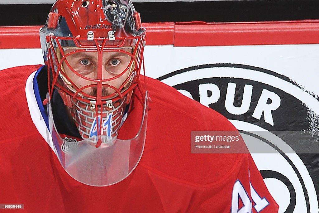Jaroslav Halak of Montreal Canadiens warms up in Game Six of the Eastern Conference Semifinals against the Pittsburgh Penguins during the 2010 NHL...