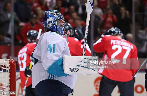 Jaroslav Halak of Team Europe looks on as Team Canada celebrates a first period goal during Game One of the World Cup of Hockey final series at the...