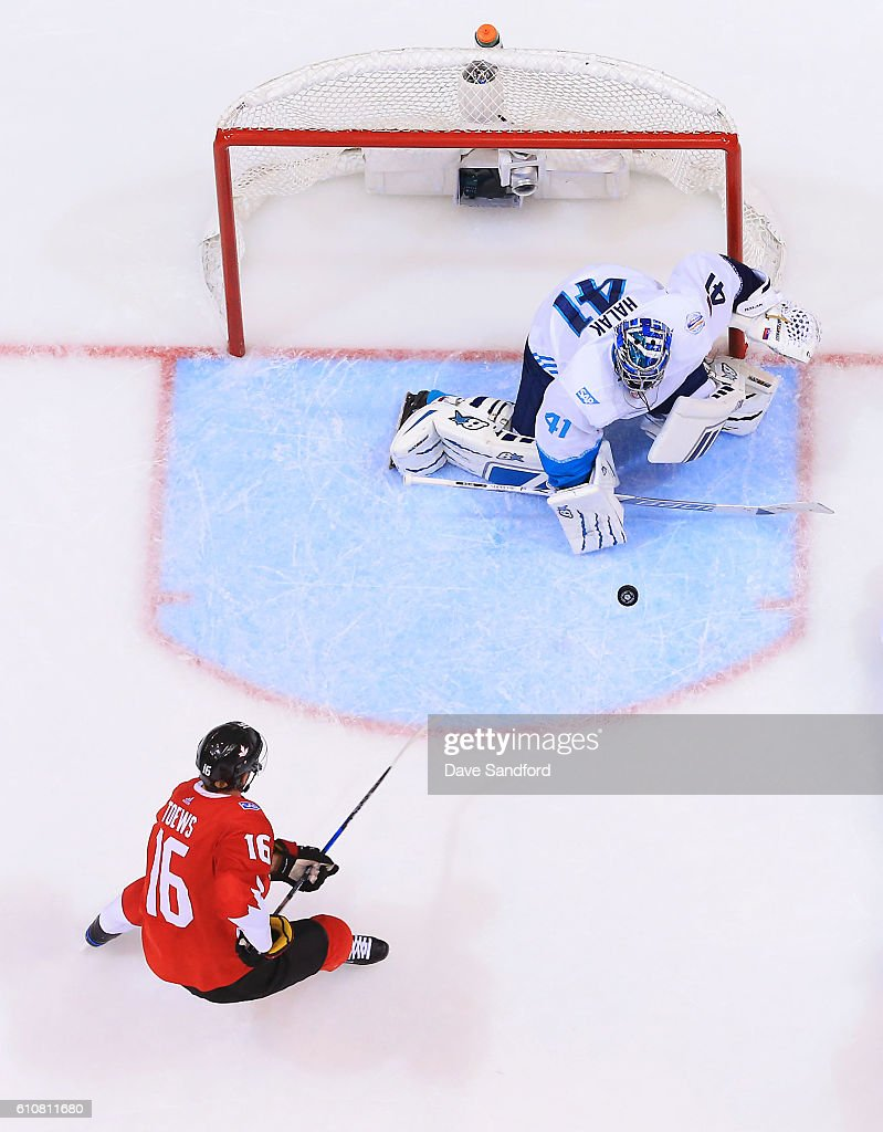 Jaroslav Halak #41 of Team Europe makes a save as Jonathan Toews #16 of Team Canada looks for the rebound during Game One of the World Cup of Hockey 2016 final series at Air Canada Centre on September 27, 2016 in Toronto, Canada.