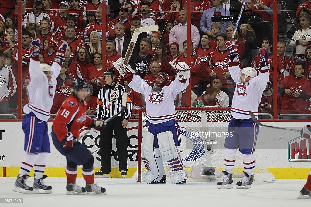 Jaroslav Halak of the Montreal Canadiens celebrates following a 21 defeat against the Washington Capitals in Game Seven of the Eastern Conference...