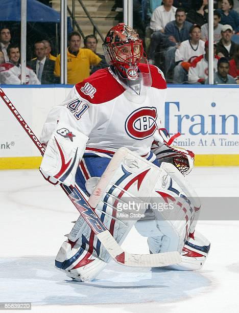 Jaroslav Halak of the Montreal Canadiens skates against the New York Islanders on April 2 2009 at Nassau Coliseum in Uniondale New York Canadiens...