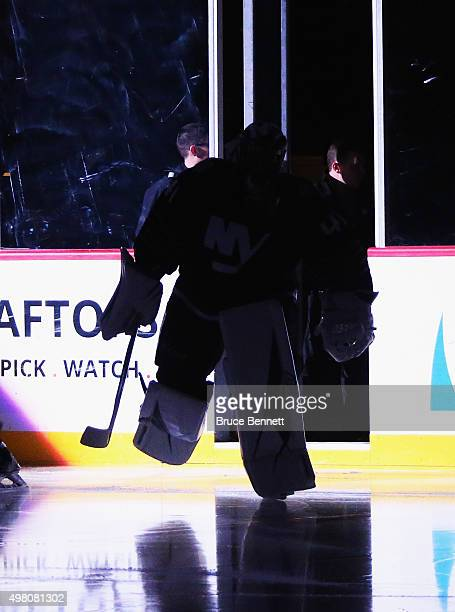 Jaroslav Halak of the New York Islanders leads the team out to play against the Montreal Canadiens at the Barclays Center on November 20 2015 in the...