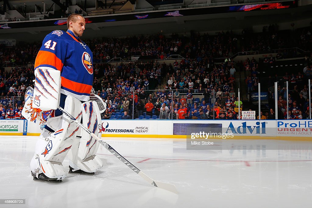 <a gi-track='captionPersonalityLinkClicked' href=/galleries/search?phrase=Jaroslav+Halak&family=editorial&specificpeople=2285591 ng-click='$event.stopPropagation()'>Jaroslav Halak</a> #41 of the New York Islanders looks on prior to the game against the Winnipeg Jets at Nassau Veterans Memorial Coliseum on October 28, 2014 in Uniondale, New York. The Winnipeg Jets defeated the New York Islanders 4-3.