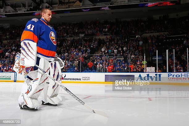 Jaroslav Halak of the New York Islanders looks on prior to the game against the Winnipeg Jets at Nassau Veterans Memorial Coliseum on October 28 2014...