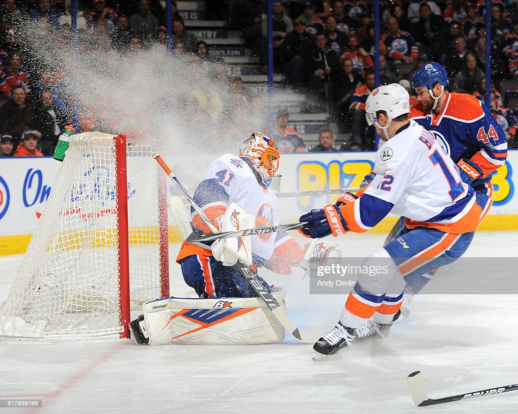 Jaroslav Halak of the New York Islanders makes a save during the game against the Edmonton Oilers on February 28 2016 at Rexall Place in Edmonton...