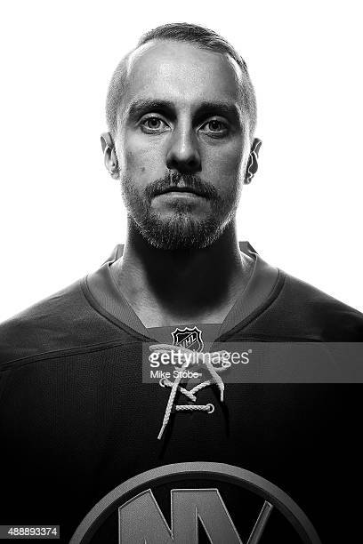 Jaroslav Halak of the New York Islanders poses for a portrait on September 17 2015 at the Nassau Coliseum in Uniondale New York