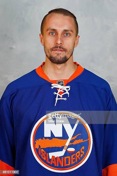 Jaroslav Halak of the New York Islanders poses for his official headshot for the 20152016 season on September 17 2015 at the Nassau Coliseum in...