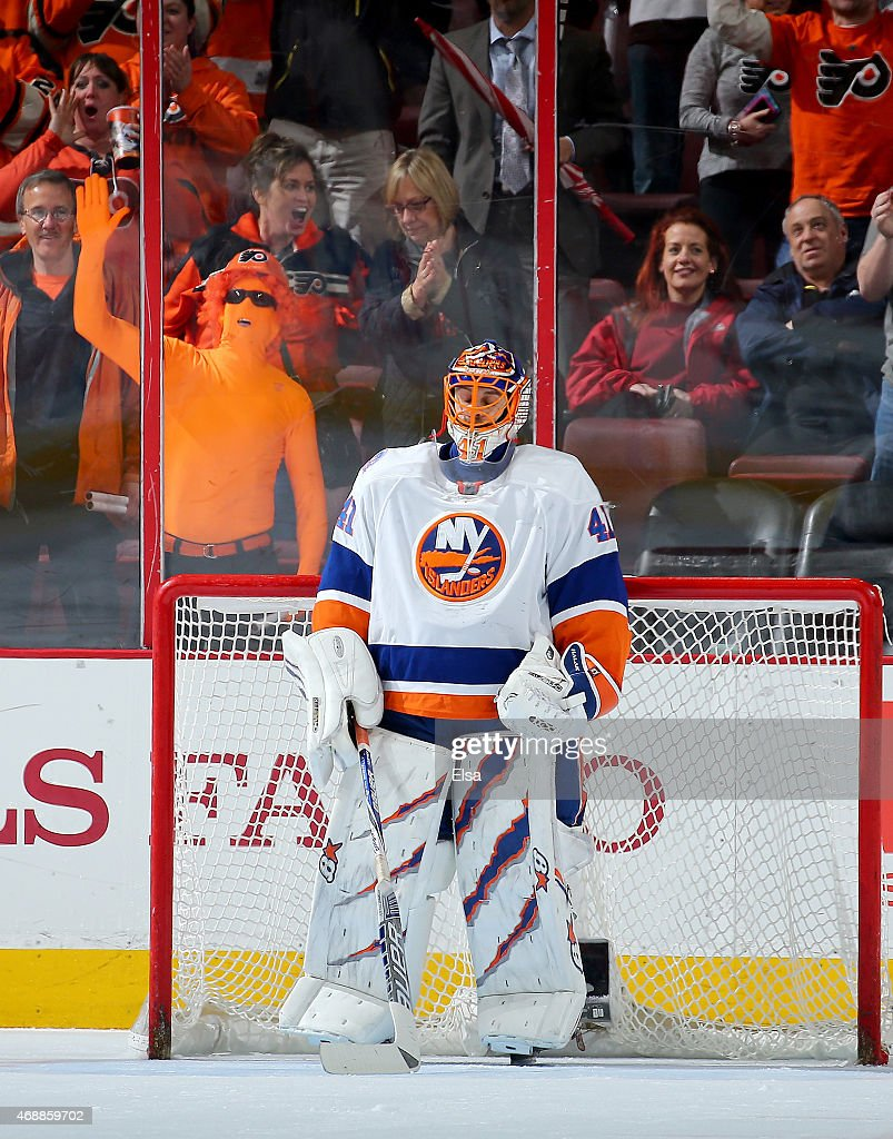 Jaroslav Halak of the New York Islanders reacts after Brayden Schenn of the Philadelphia Flyers scored the game winner with three seconds left in the...