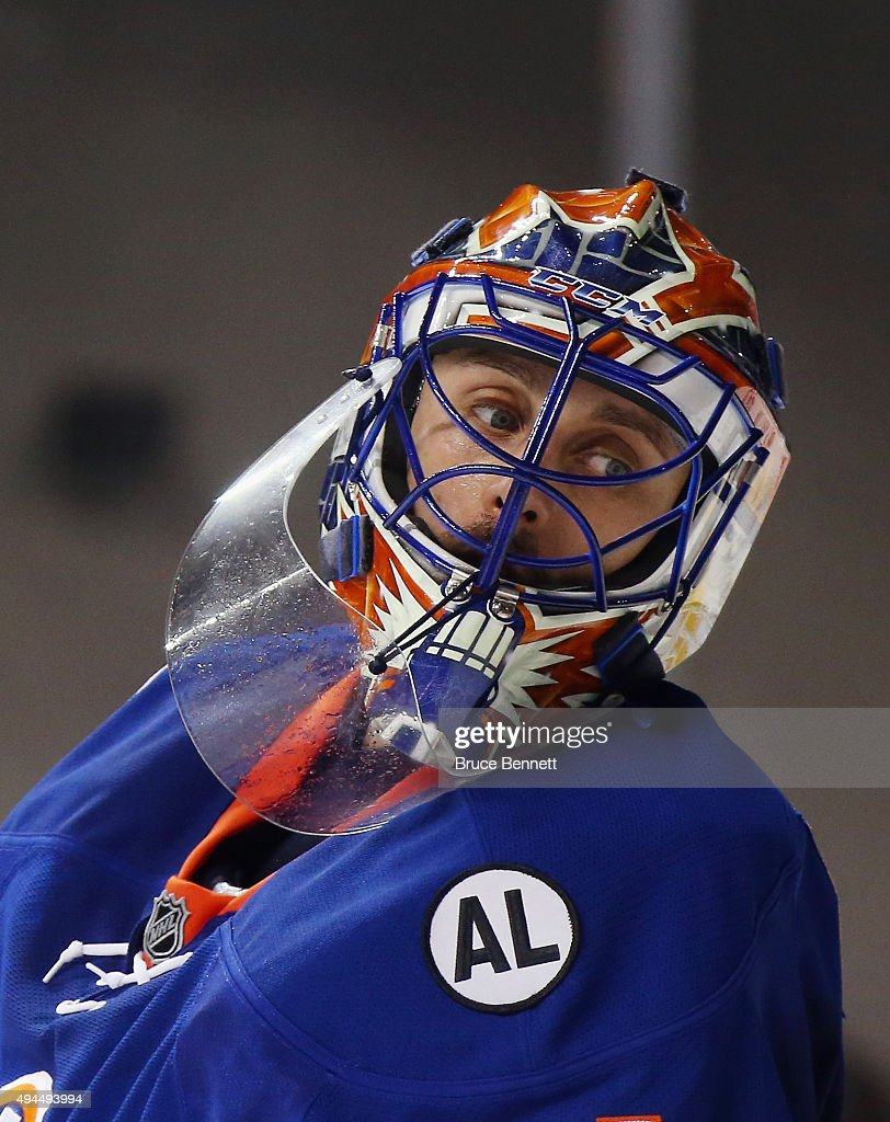 Jaroslav Halak of the New York Islanders skates against the San Jose Sharks at the Barclays Center on October 17 2015 in the Brooklyn borough of New...