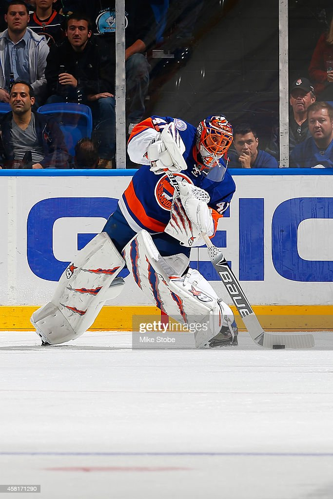 <a gi-track='captionPersonalityLinkClicked' href=/galleries/search?phrase=Jaroslav+Halak&family=editorial&specificpeople=2285591 ng-click='$event.stopPropagation()'>Jaroslav Halak</a> #41 of the New York Islanders skates against the Toronto Maple Leafs at Nassau Veterans Memorial Coliseum on October 21, 2014 in Uniondale, New York. Maple Leafs defeated the Islanders 5-2.