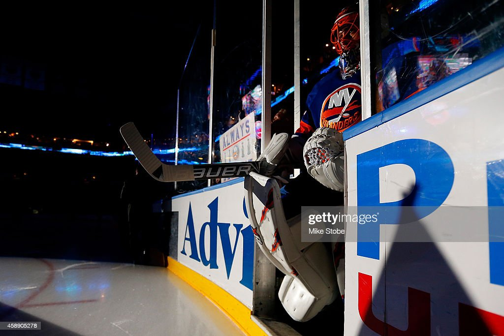 Jaroslav Halak of the New York Islanders takes the ice prior to the game against the Winnipeg Jets at Nassau Veterans Memorial Coliseum on October 28...
