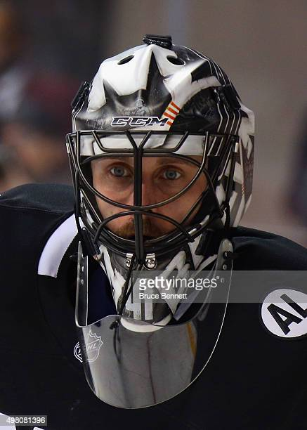 Jaroslav Halak of the New York Islanders tends net against the Montreal Canadiens at the Barclays Center on November 20 2015 in the Brooklyn borough...