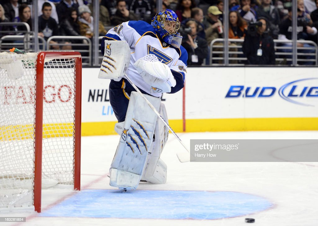 <a gi-track='captionPersonalityLinkClicked' href=/galleries/search?phrase=Jaroslav+Halak&family=editorial&specificpeople=2285591 ng-click='$event.stopPropagation()'>Jaroslav Halak</a> #41 of the St. Louis Blues makes a pass during the game against the Los Angeles Kings at Staples Center on March 5, 2013 in Los Angeles, California.
