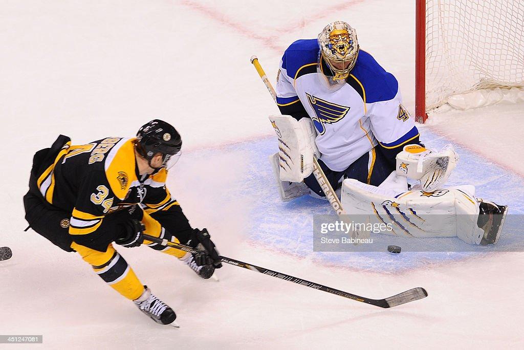 Jaroslav Halak #41 of the St. Louis Blues makes a save against Carl Soderberg #34 of the Boston Bruins at the TD Garden on November 21, 2013 in Boston, Massachusetts.