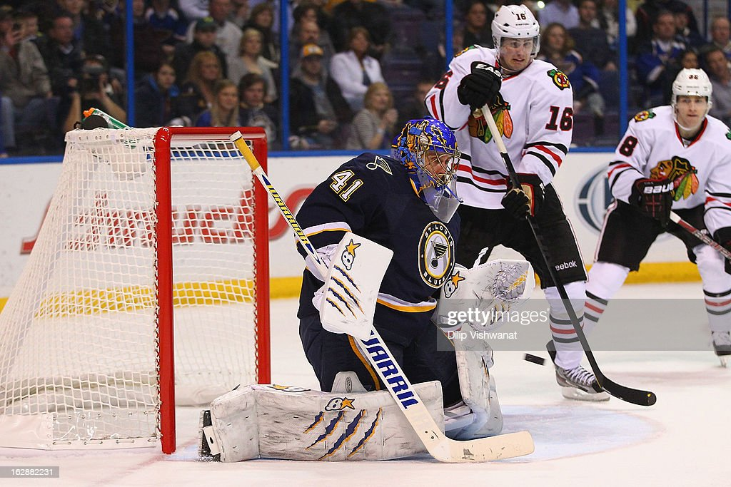 <a gi-track='captionPersonalityLinkClicked' href=/galleries/search?phrase=Jaroslav+Halak&family=editorial&specificpeople=2285591 ng-click='$event.stopPropagation()'>Jaroslav Halak</a> #41 of the St. Louis Blues makes a save against the Chicago Blackhawks at the Scottrade Center on February 28, 2013 in St. Louis, Missouri.