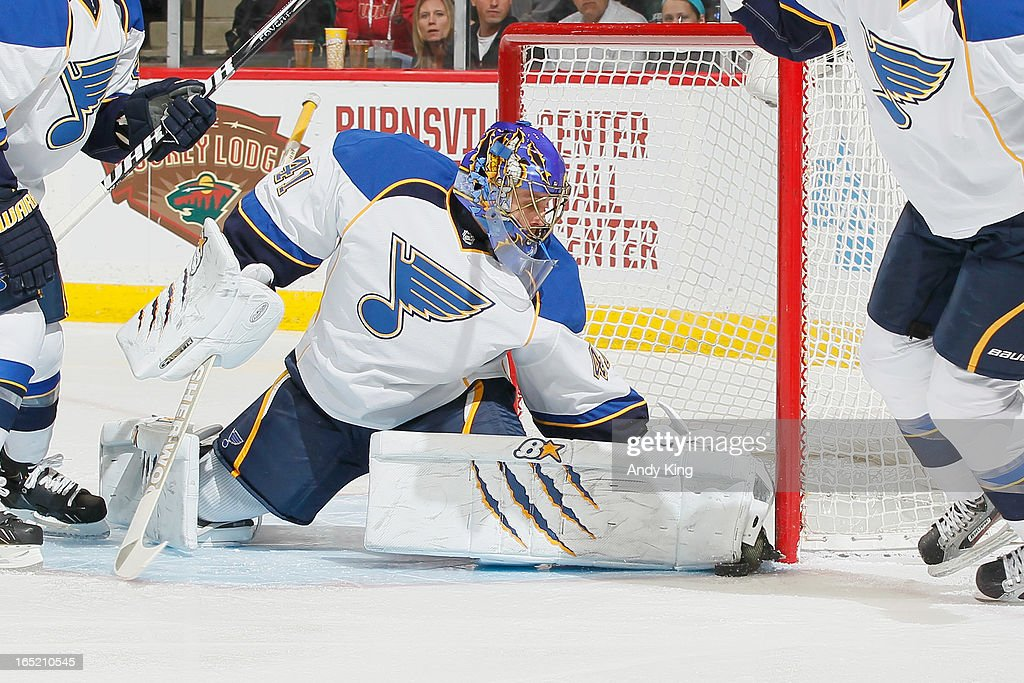 <a gi-track='captionPersonalityLinkClicked' href=/galleries/search?phrase=Jaroslav+Halak&family=editorial&specificpeople=2285591 ng-click='$event.stopPropagation()'>Jaroslav Halak</a> #41 of the St. Louis Blues makes a save against the Minnesota Wild during the game on April 1, 2013 at the Xcel Energy Center in Saint Paul, Minnesota.