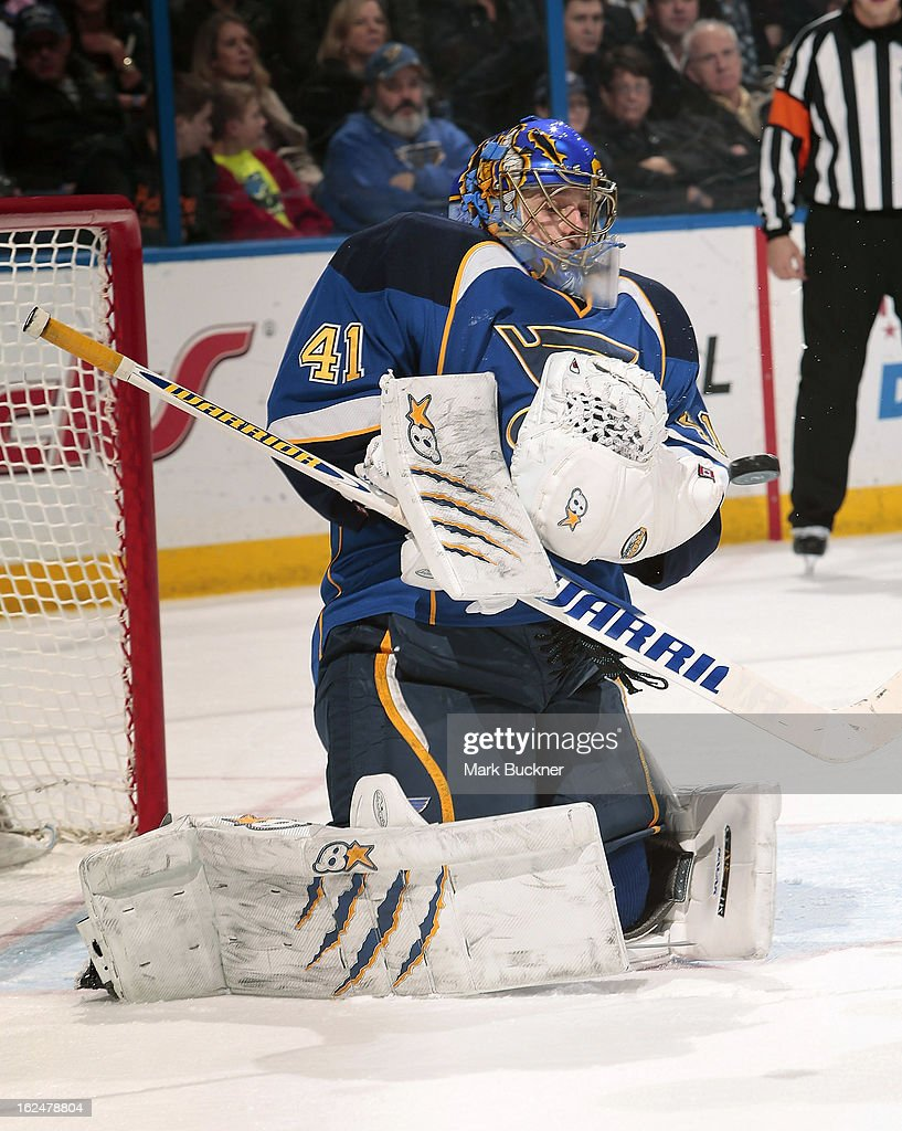 <a gi-track='captionPersonalityLinkClicked' href=/galleries/search?phrase=Jaroslav+Halak&family=editorial&specificpeople=2285591 ng-click='$event.stopPropagation()'>Jaroslav Halak</a> #41 of the St. Louis Blues makes a save in an NHL game against the Columbus Blue Jackets on February 23, 2013 at Scottrade Center in St. Louis, Missouri.