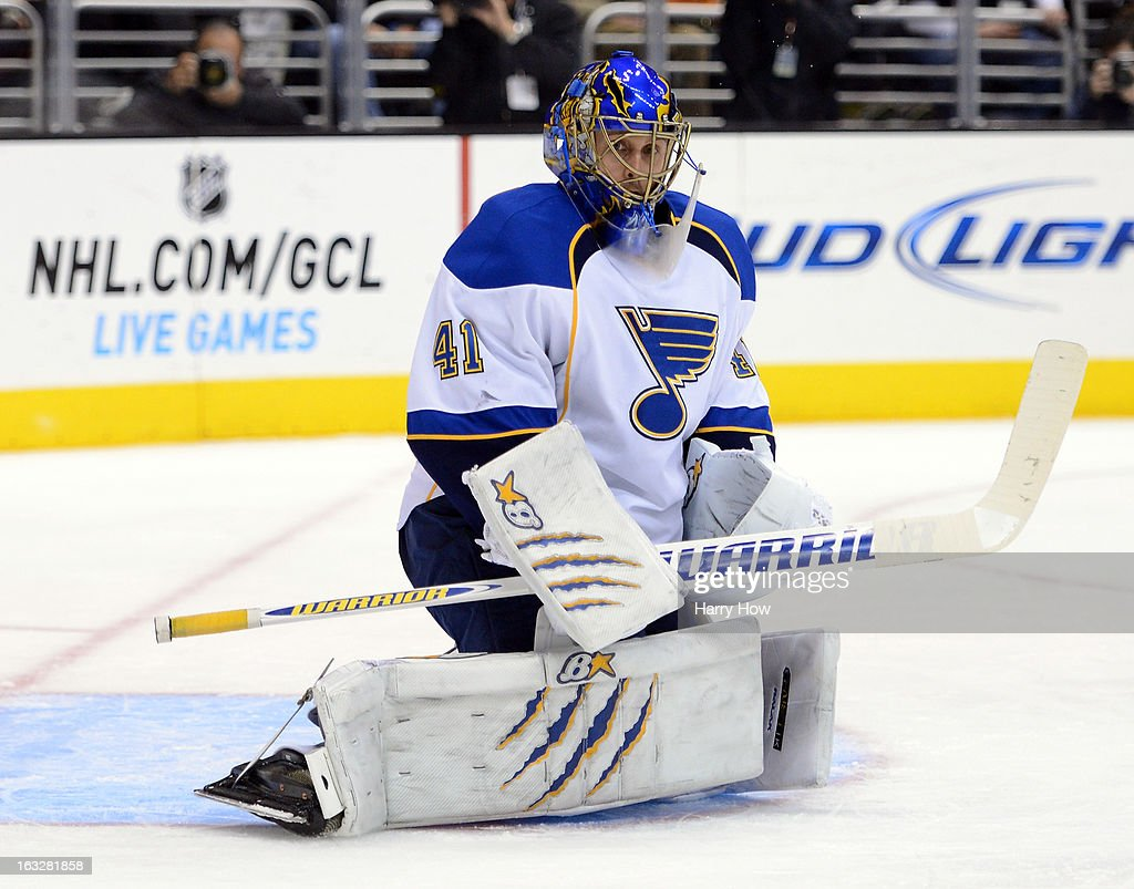 <a gi-track='captionPersonalityLinkClicked' href=/galleries/search?phrase=Jaroslav+Halak&family=editorial&specificpeople=2285591 ng-click='$event.stopPropagation()'>Jaroslav Halak</a> #41 of the St. Louis Blues reacts to a shot during the game against the Los Angeles Kings at Staples Center on March 5, 2013 in Los Angeles, California.