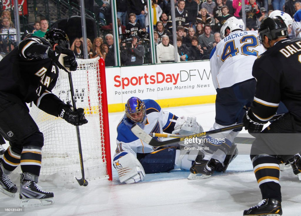 <a gi-track='captionPersonalityLinkClicked' href=/galleries/search?phrase=Jaroslav+Halak&family=editorial&specificpeople=2285591 ng-click='$event.stopPropagation()'>Jaroslav Halak</a> #41 of the St. Louis Blues tends goal against <a gi-track='captionPersonalityLinkClicked' href=/galleries/search?phrase=Loui+Eriksson&family=editorial&specificpeople=2235241 ng-click='$event.stopPropagation()'>Loui Eriksson</a> #21 of the Dallas Stars at the American Airlines Center on January 26, 2013 in Dallas, Texas.