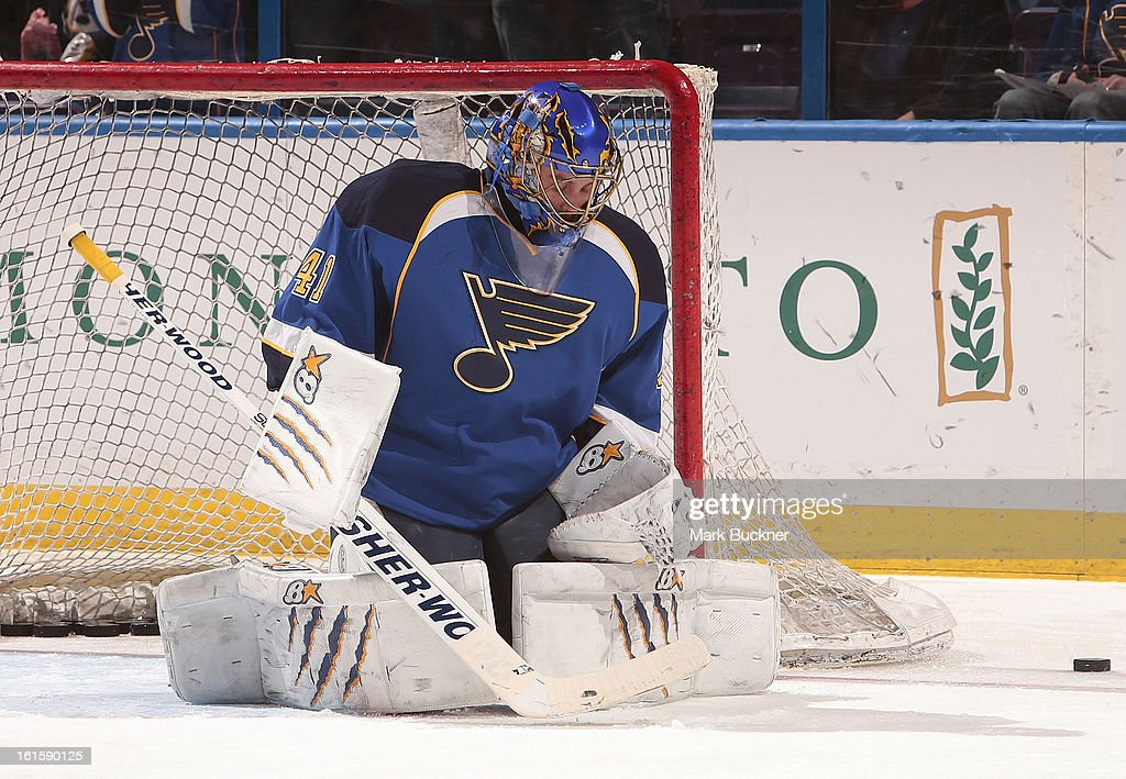 Jaroslav Halak #41 of the St. Louis Blues warms up before an NHL game against the Los Angeles Kingson February 11, 2013 at Scottrade Center in St. Louis, Missouri.