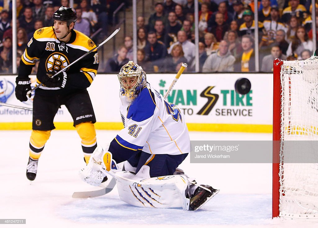 <a gi-track='captionPersonalityLinkClicked' href=/galleries/search?phrase=Jaroslav+Halak&family=editorial&specificpeople=2285591 ng-click='$event.stopPropagation()'>Jaroslav Halak</a> #41 of the St Louis Blues watches a deflected puck in the third period against the Boston Bruins at TD Garden on November 21, 2013 in Boston, Massachusetts.