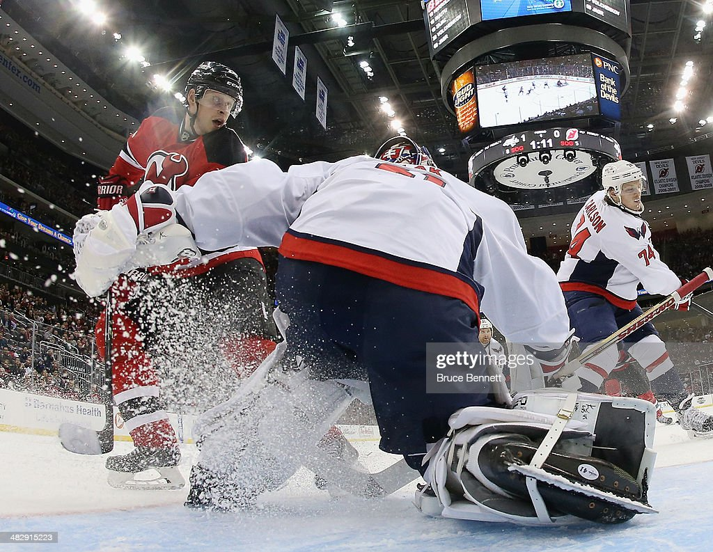 Jaroslav Halak of the Washington Capitals tends net against the New Jersey Devils at the Prudential Center on April 4 2014 in Newark New Jersey The...