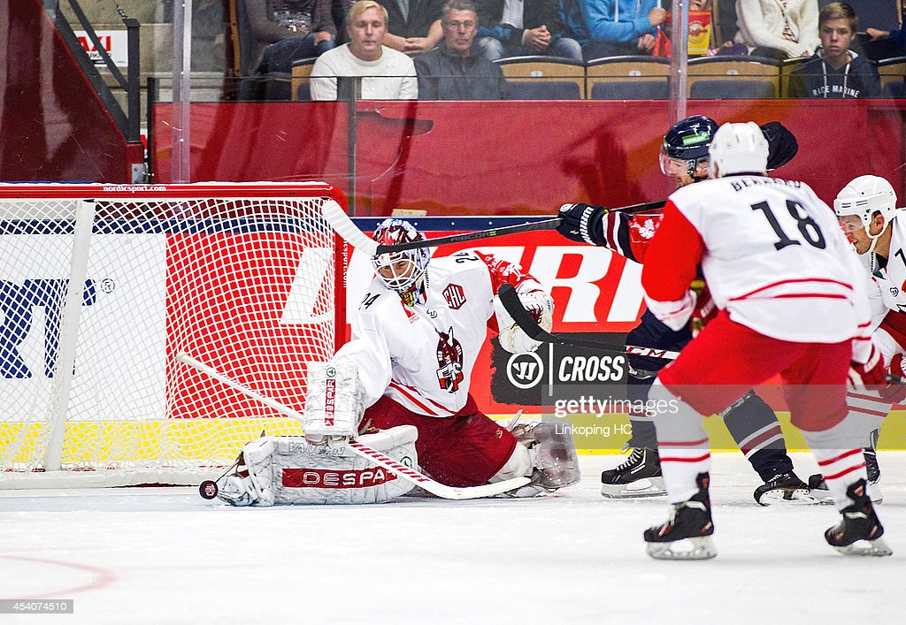 Jaroslav Hubl #24 of HC Bolzano makes a save after Claes Norden #21 of Linkoping takes a shot on goal during the Champions Hockey League group stage game between Linkoping HC and HC Bolzano on August 24, 2014 in Linkoping, Sweden.