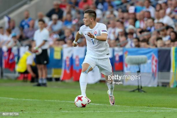Jaroslav Mihalik of Slovakia in action during the 2017 UEFA European Under21 Championship match between Slovakia and England on June 19 2017 in...