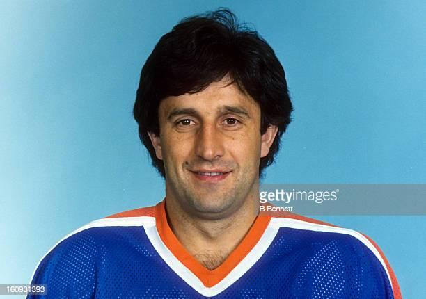 Jaroslav Pouzar of the Edmonton Oilers poses for a portrait in October 1983 in Edmonton Alberta Canada