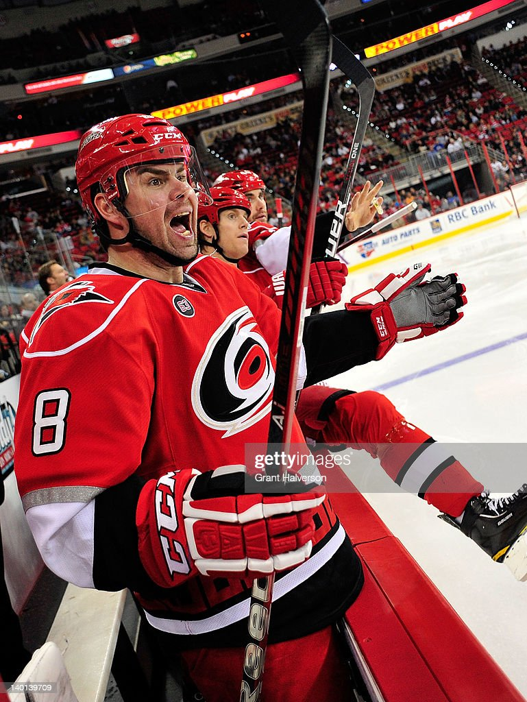 <a gi-track='captionPersonalityLinkClicked' href=/galleries/search?phrase=Jaroslav+Spacek&family=editorial&specificpeople=204681 ng-click='$event.stopPropagation()'>Jaroslav Spacek</a> #8 of the Carolina Hurricanes screams for a penalty for too many men on the ice against the Nashville Predators during play at the RBC Center on February 28, 2012 in Raleigh, North Carolina. The Hurricanes won 4-3.