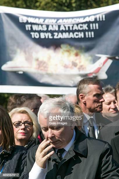 Jaroslaw Kaczynski attends a ceremony commemorating the victims of the 2010 Smolensk airplane crash on April 10 2015 at Powazki Cementary in Warsaw...