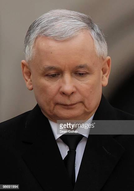 Jaroslaw Kaczynski attends the funeral of his twin brother late Polish president Lech Kaczynski on April 18 2010 in Krakow Poland Jaroslaw Kaczynski...
