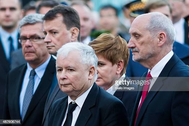 Jaroslaw Kaczynski Beata Szydlo Mariusz Blaszczak Antoni Macierewicz attend the celebration of 71th anniversary of the Warsaw Uprising on July 31...