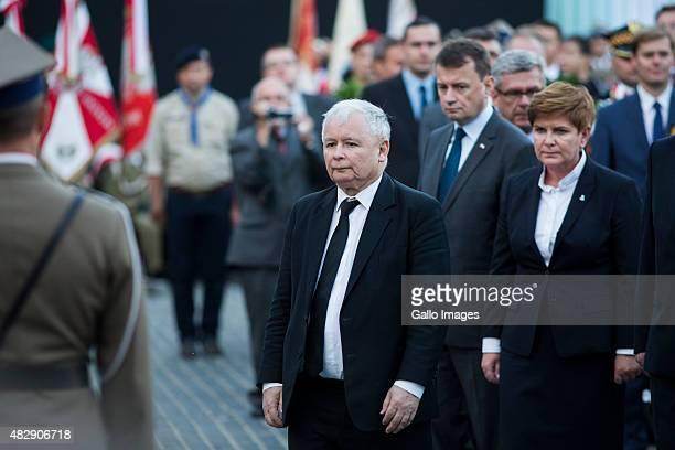 Jaroslaw Kaczynski Beata Szydlo Mariusz Blaszczak attend the celebration of 71th anniversary of the Warsaw Uprising on July 31 2015 in Warsaw Poland...