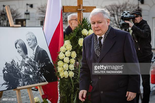 Jaroslaw Kaczynski leader of Law and Justice party and twin brother of late Polish president Lech Kaczynski his coworkers and supporters attend a...