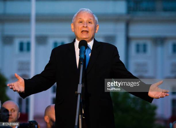 Jaroslaw Kaczynski leader of the nowruling party Law and Justice speaks during remembrance ceremonies in front of the Presidential Palace in Warsaw...