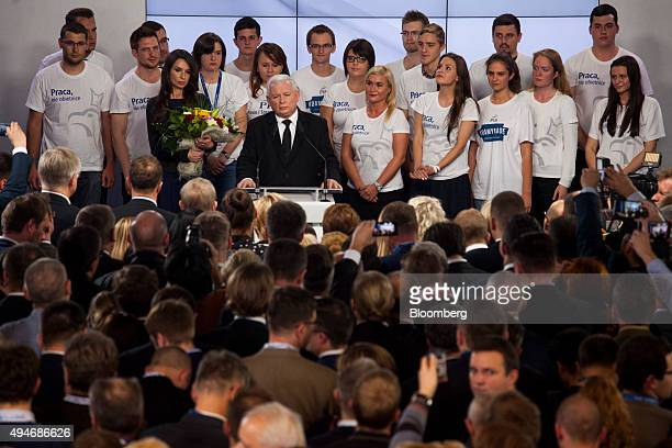 Jaroslaw Kaczynski leader of the opposition Law and Justice Party speaks after victory in the Polish general election in Warsaw Poland on Sunday Oct...