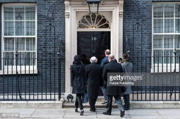Jaroslaw Kaczynski the leader of Poland's ruling party Law and Justice visits Downing Street for a meeting with British PM Theresa May on March 23...