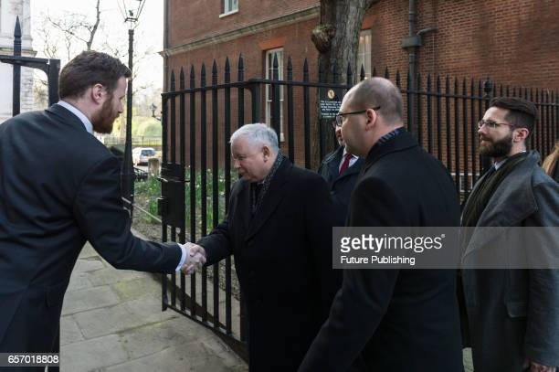 Jaroslaw Kaczynski the leader of Poland's ruling party Law and Justice leaves 10 Downing Street after a meeting with British PM Theresa May on March...