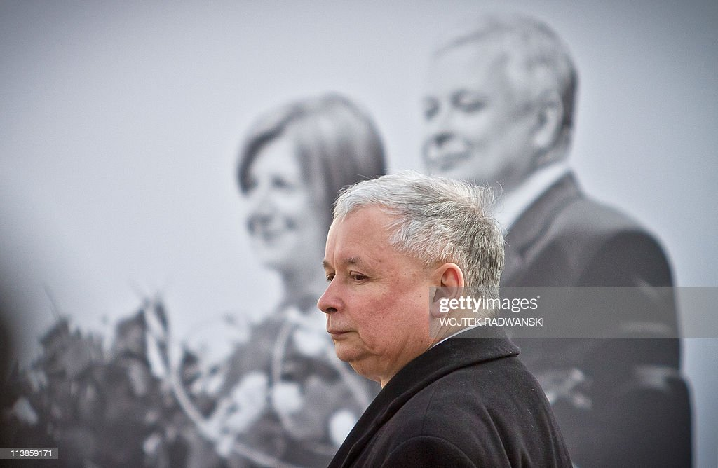 Jaroslaw Kaczynski the twin brother of the late President stands during a wreath laying ceremony in front of the presidential palace in Warsaw April...