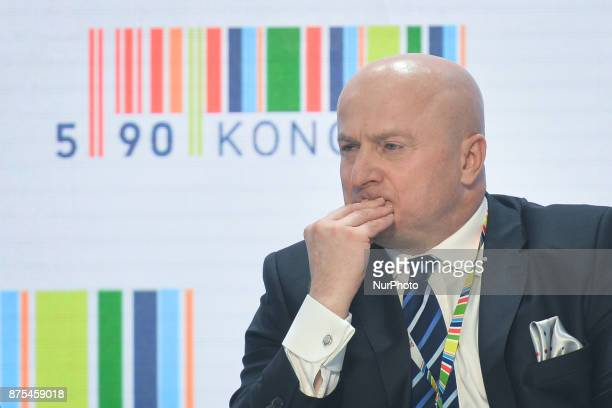 Jaroslaw Stawiarski Secretary of State in Sport and Turism department seen during a panel discussion about Polish Football during Congress 590 in the...