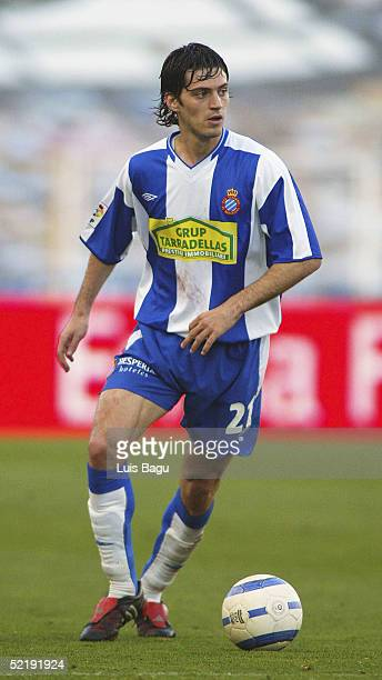 Jarque of Espanyol in action during the La Liga match between RCD Espanyol and Getafe at the Montjuic stadium on February 13 2005 in Barcelona Spain